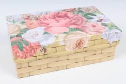 Коробка одиночная подарочная 1шт- Прямоугольник Цветы 15,5*9*5,5см 600000100801 М