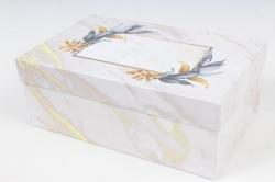 Коробка одиночная подарочная 1шт- Прямоугольник Цветы 19,5*12*7,5см 600000100601 М