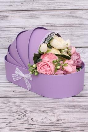 Коробка под цветы Коляска Фиолетовая 33*17, h=8*20см К217
