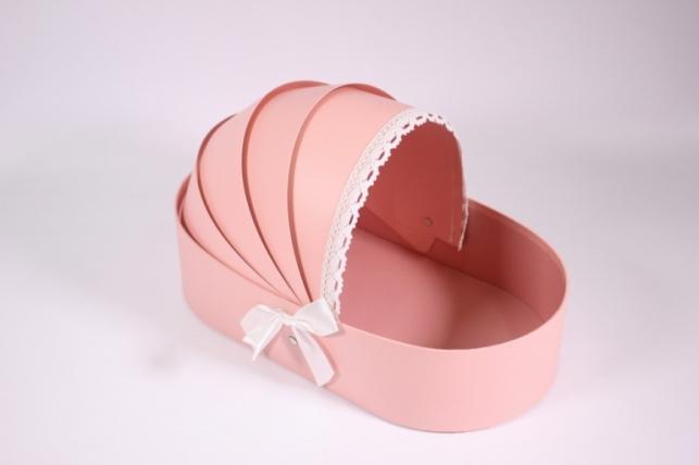 Коробка под цветы (Коляска) розовая