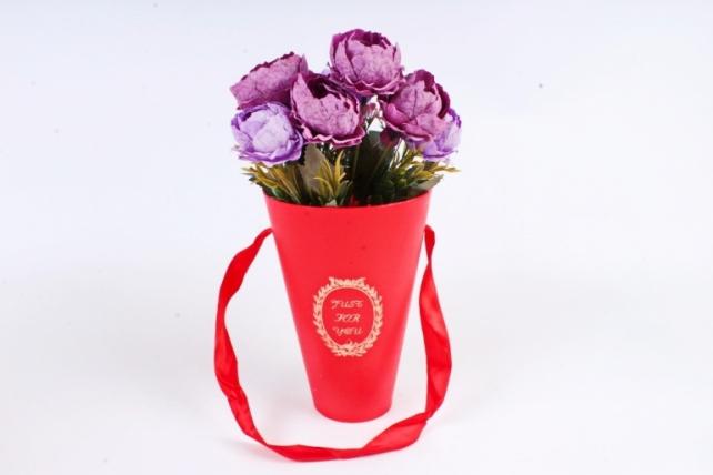 """Коробка под цветы """"Конус"""", красный (W9212-red) 9487 М"""