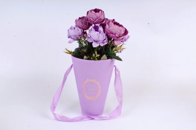 """Коробка под цветы """"Конус"""", сиреневый (W9212-lilac) 9494 М"""