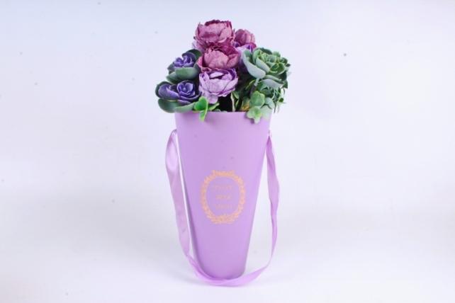 """Коробка под цветы """"Конус"""", сиреневый (W9208-lilac) 9524 М"""