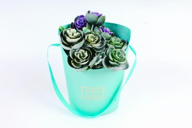Коробка под цветы, с ручкой, тиффани (W6640-tiffany) 9364 М