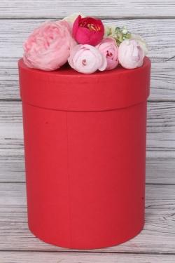 """Коробка подарочная одиночная - """"Цилиндр""""  13,5*19 Красный Пин13/19-КР"""