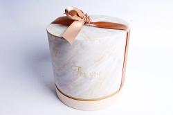 Коробка подарочная одиночная - Цилиндр с бантом  Мраморный,  5503