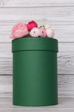 """Коробка подарочная одиночная - """"Цилиндр""""  13,5*19 Зеленый Пин13/19-ЗЛ"""