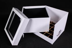 Коробка подарочная одиночная - Куб трансформер белый Р15
