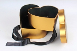 Коробка подарочная одиночная - Сердце трансформер золото  К827