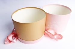 Коробка подарочная одиночная- Цилиндр с бантом Чайная роза,  5497