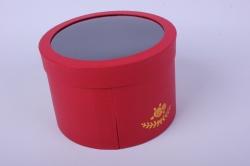 Коробка подарочная одиночная - Круг с окном трансформер Красный   Р14