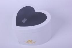 Коробка подарочная одиночная - Сердце с окном трансформер Белое 24x12 h=15см Р13