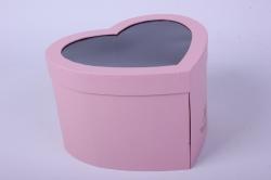 Коробка подарочная одиночная - Сердце с окном трансформер Розовое 24x12 h=15см Р13