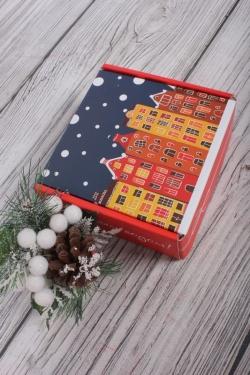 Коробка подарочная одиночная 1шт - Квадрат Новогодняя ночь,135x135x60  (трансф)   Д30203К.010