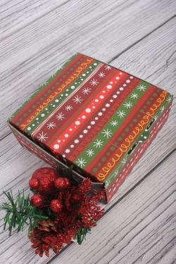 Коробка подарочная одиночная 1шт - Квадрат Зимний узор 140x140x60  (трансф)   Д30203К.003