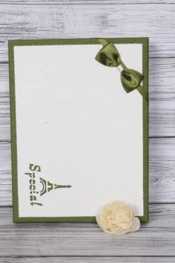 Коробка подарочная одиночная 1шт - Прямоугольник под рубашку белый/оливка 31*23*5см К740
