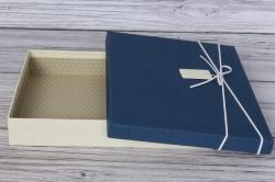 Коробка подарочная одиночная 1шт - Прямоугольник под рубашку синяя крышка 31*23*5см К740