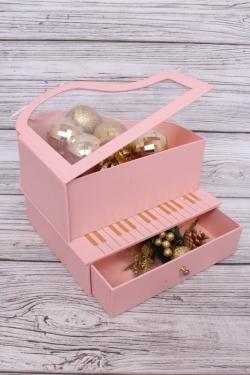 Коробка подарочная одиночная 1шт - Рояль со шкатулкой розовый 26*23*15см  В181