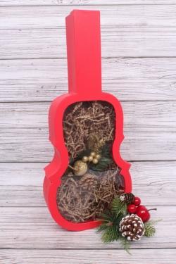 Коробка подарочная одиночная 1шт - Скрипка красная 45*19*5.5см В278