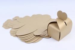 Коробка подарочная одиночная- трансформер Сундук с ручкой сердце Золото  (10 шт в уп) КК143