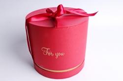 """Коробка подарочная одиночная-Цилиндр """"For you"""" красный+золото,  5527"""