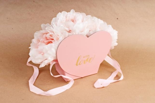 "Коробка ""Сердце"", с ручкой,  розовый (W7589) 0396"