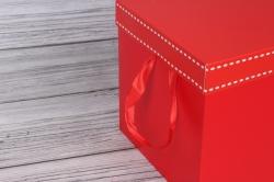 "Коробка транс. ""Однотонная"" красная 22*22*22 см 1шт   B10331-50  М"