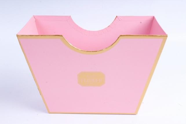 Коробка Трапеция с золотой окантовкой розовая