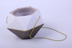 Коробка-ваза с пластиковой вставкой, d=12 h=14см  БРИЛЛИАНТ Бронза-Хрусталь