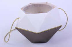 Коробка-ваза с пластиковой вставкой, 190*190*140мм БРИЛЛИАНТ Бронза-Топаз