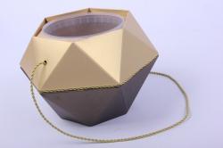 Коробка-ваза с пластиковой вставкой, d=12 h=14см БРИЛЛИАНТ Бронза-Золото