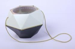 Коробка-ваза с пластиковой вставкой, d=12 h=14см БРИЛЛИАНТ Черный-Мята