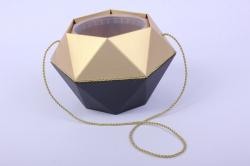 Коробка-ваза с пластиковой вставкой, d=12см h=14см  БРИЛЛИАНТ Черный-Золото