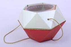 Коробка-ваза с пластиковой вставкой, d=12 h=14см БРИЛЛИАНТ Красный-Мята