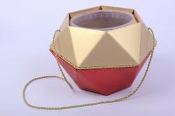 Коробка-ваза с пластиковой вставкой, d=12 h=14см БРИЛЛИАНТ Красный-Золото