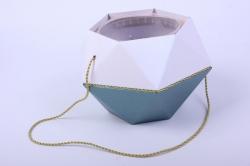 Коробка-ваза с пластиковой вставкой, d=12 h=14см БРИЛЛИАНТ Зеленый-Хрусталь