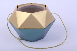 Коробка-ваза с пластиковой вставкой, d=12 h=14см БРИЛЛИАНТ Зеленый-Золото