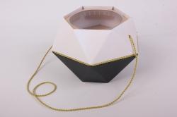 Коробка-ваза с пластиковой вставкой, 190*190*140мм БРИЛЛИАНТ Золото-Хрусталь