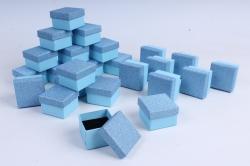 Коробки подарочные одиночные (24шт в уп)-Квадрат Бархатный блеск с бантом Голубой    10031-2