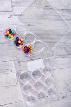 Коробочка прозрачная для мелочей (в наборе 12шт) d=3,5см