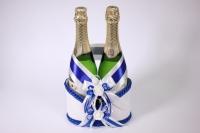 Корзина для шампанского с ручкой - бело/синяя (16)
