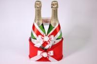 Корзина для шампанского с ручкой - красная (16)