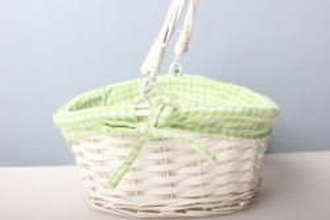 Корзина Круглая белая с зеленым декором (ива) (d=24х19/h= 13/10см) 1шт.