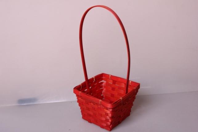 Корзина Квадрат красная (бамбук) (d=14х14 / h= 9,5х32см) 7165