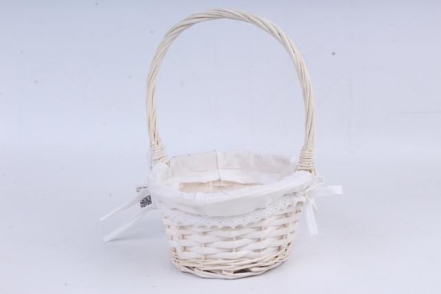 Корзина плетеная - (ива) круглая белая с кружевом КС-45-1
