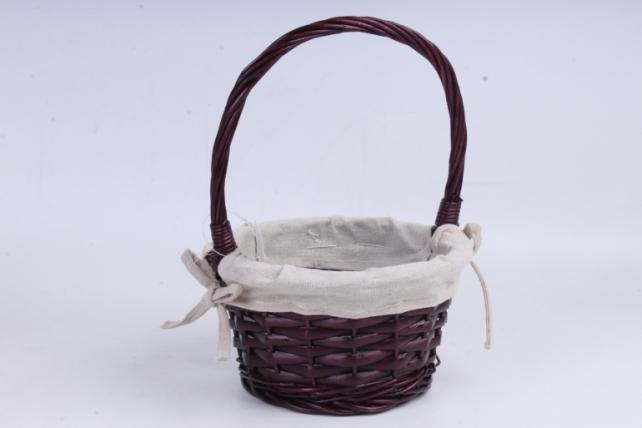 Корзина плетеная - (ива) круглая бордовая с тканью  КС-45