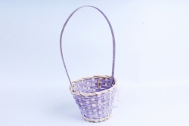 Корзина плетеная (бамбук) - Круг  (фиолетовая) 1802