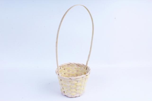 Корзина плетеная (бамбук) - Круг (желтая) 1819