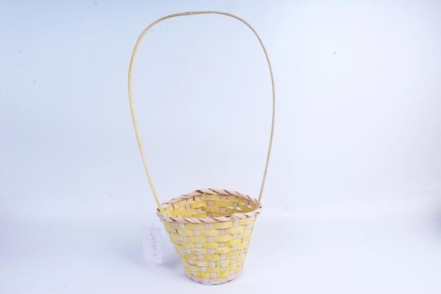 Корзина плетеная (бамбук) - Круг (желтая) 1727