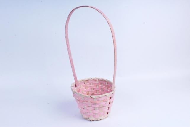 Корзина плетеная (бамбук) - Круг  (розовая) 1796